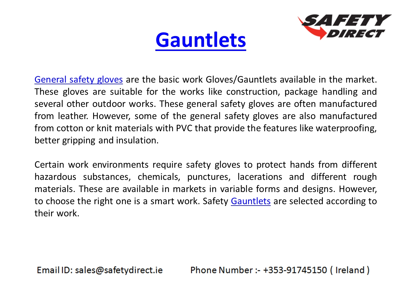 Leather work gloves ireland - Professional Gauntlets In Ireland At Safetydirect Ie Powerpoint Presentation Ppt