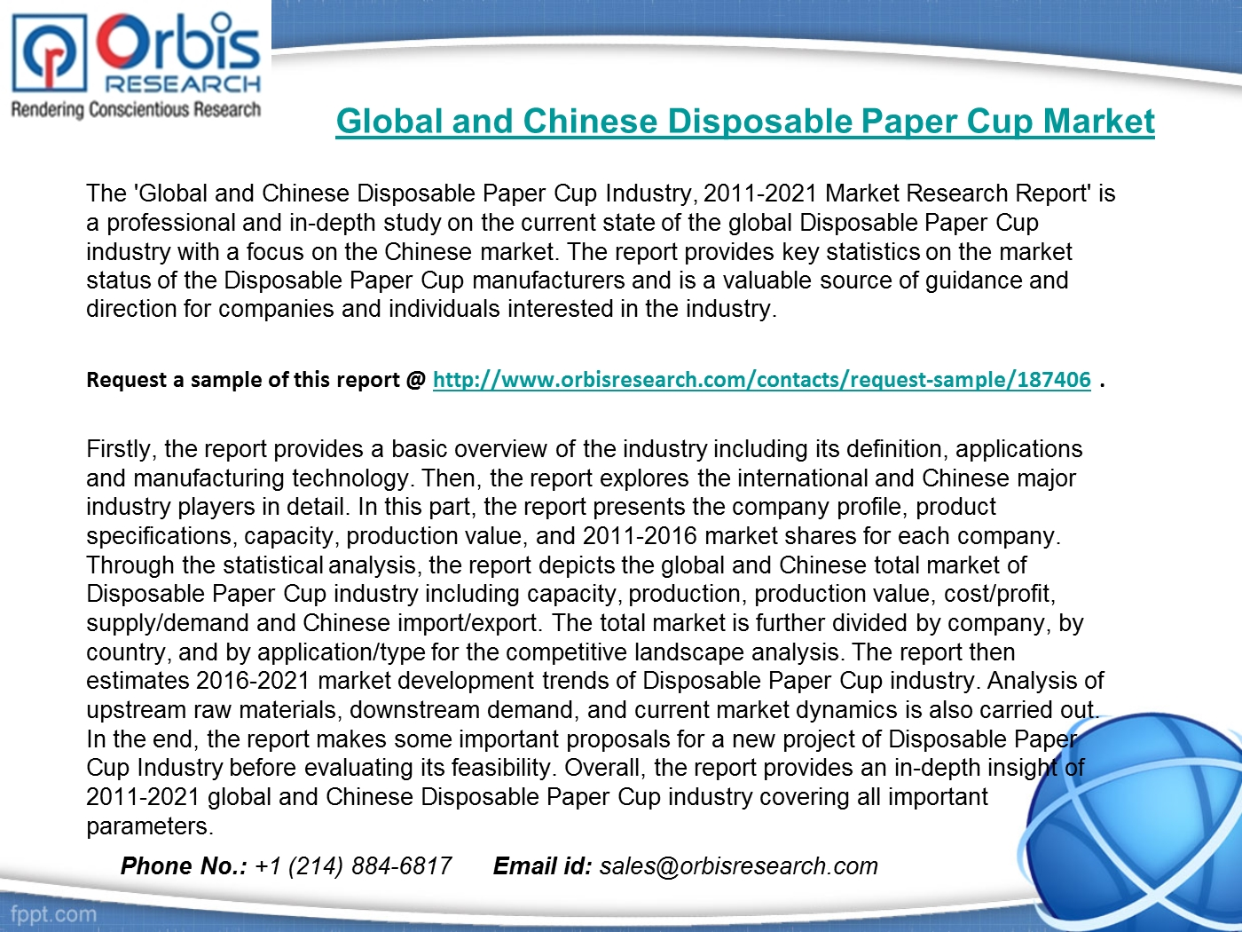 Global & Chinese Disposable Paper Cup Market 2016-2021