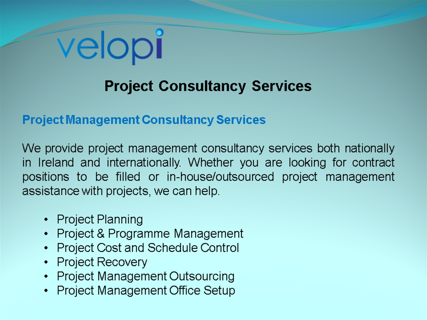 Project Management Consultancy Services Powerpoint Presentation Ppt