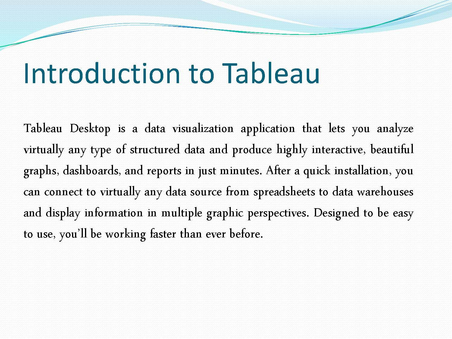 Tableau Tutorial Pdf | Examples and Forms